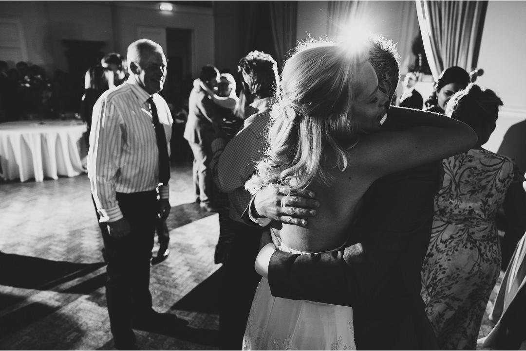 wedding hugs on the dance floor