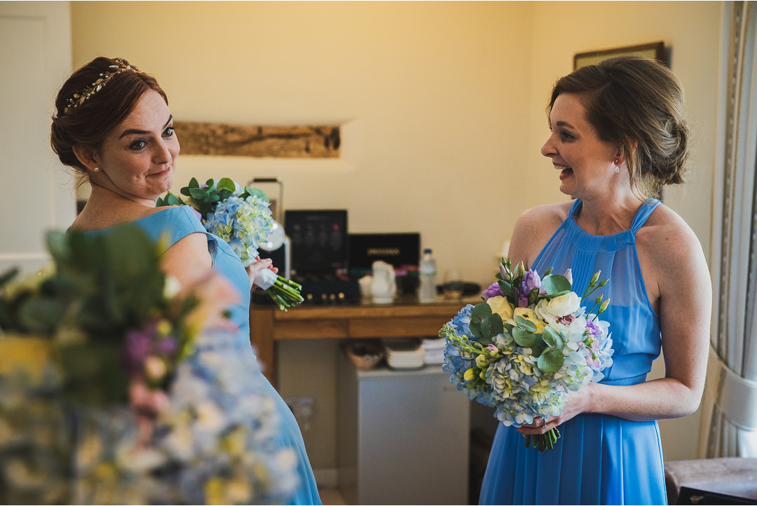 Bridesmaids with their bouquets