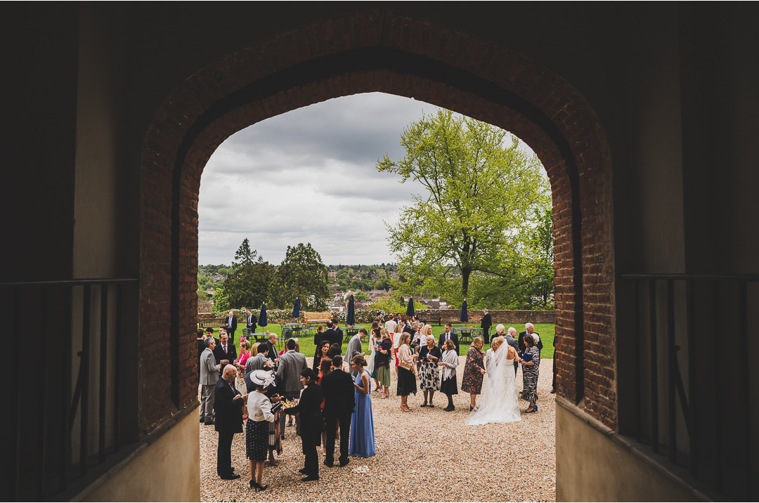 Wedding reception drinks at Farnham Castle
