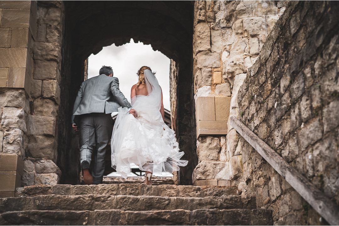 Bride and Groom at Farnham Castle keep