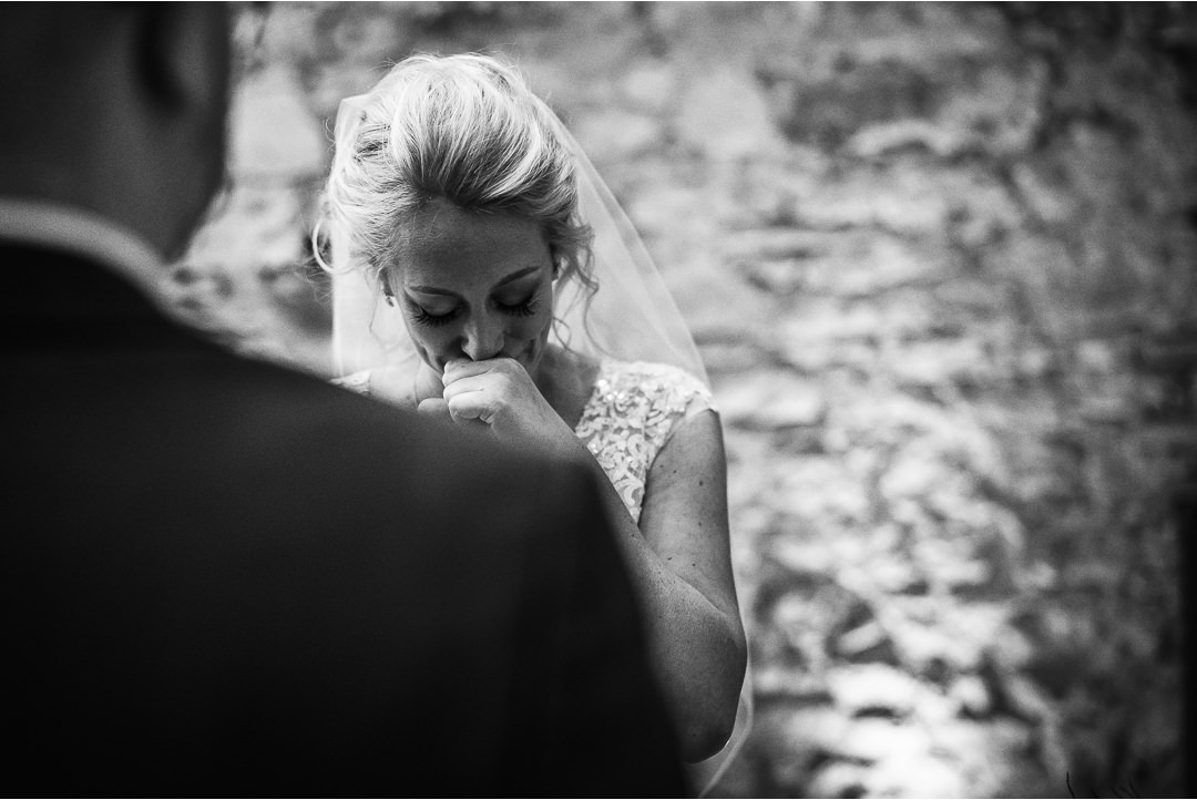 An emotional Bride during the vows