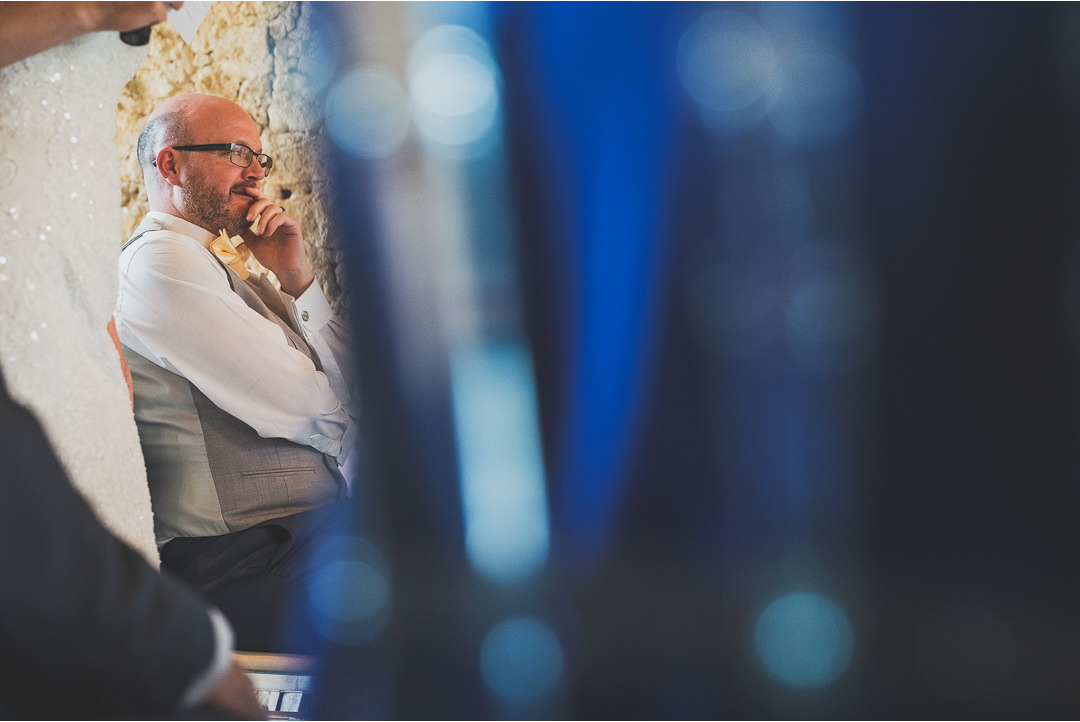 Groom's reaction to the Bride's speech