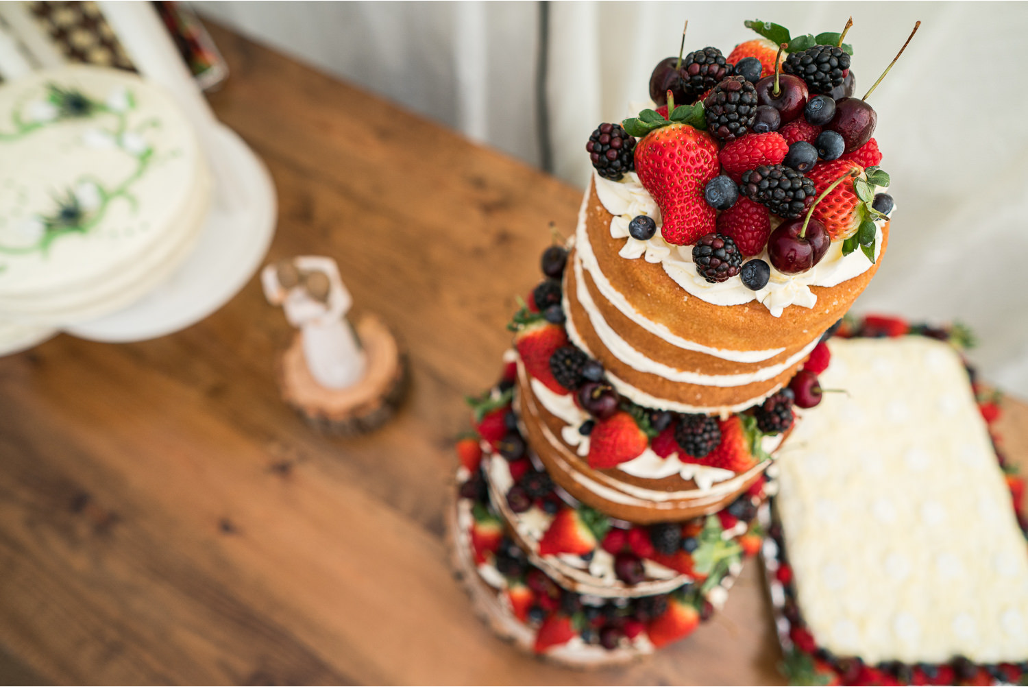 photo of a towering wedding cake